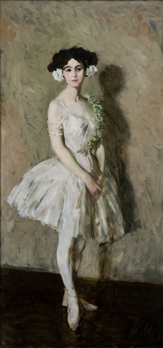 Ballet Girl in White (1909). Robert Henri (American, 1865-1929). Oil on canvas. Des Moines Art Center. Although Henri was fascinated by dancers, including Ruth St Denis, the sitter here is likely a model striking a pose rather than a dancer of note. There is a striking resemblance, in subject and treatment, to Masquerade Dress: Portrait of Mrs Robert Henri, suggesting that the artist's beautiful wife stood for both pictures.