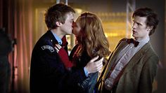 Matt Smith as the Eleventh Doctor with Karen Gillan as Amy Pond and Arthur Darvill as Rory Williams