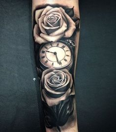 Relistic pocket watch and rose forearm tattoo - 100 Awesome Watch Tattoo Designs