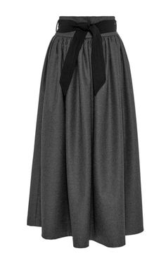 Dark Wool High Waisted Skirt With Belt by MARTIN GRANT Now Available on Moda Operandi