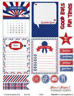 Free Memorial Day Journaling Cards and Labels from Vintage Glam Studio