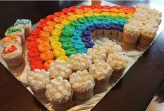 A Rainbow Mini-Cupcake Cake! - La Hoot Bakery A Rainbow Mini-Cupcake Cake! Trolls Birthday Party, Rainbow Birthday Party, Unicorn Birthday Parties, Girl Birthday, Cake Birthday, Class Birthday Treats, Rainbow Birthday Decorations, 5th Birthday Party Ideas, Cupcakes Arc-en-ciel