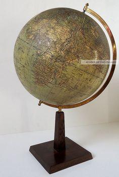 Globus Erdglobus Dr Krause Alt Art Deco 1900 Deutsches Reich Globe German War Wissenschaftliche Instrumente Bild