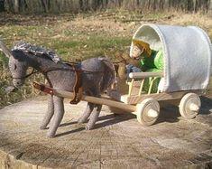 Natural toys wool felt animals role play Waldorf eco by Felthorses Wooden Wagon, Horse And Buggy, Natural Toys, Tarpaulin, The Donkey, Felt Cat, Pattern And Decoration, Wheelbarrow, Felt Animals