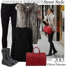Best Celebrity Street Style of 2013: Olivia Palermo by alaria on Polyvore featuring P.A.R.O.S.H., Joseph, Naked & Famous, Burberry, Gucci, StreetStyle, contest, OliviaPalermo and bestof2013