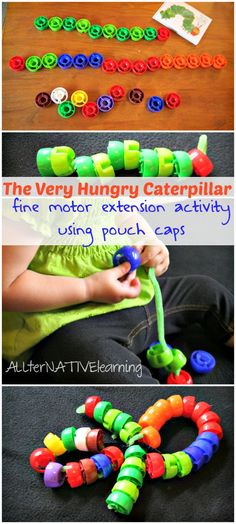Use pouch caps to make a The Very Hungry Caterpillar activity for toddlers that shows the metamorphosis from caterpillar to butterfly!   ALLterNATIVElearning