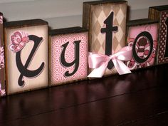 Personalized Little Girl Name Blocks - Loft Blocks - Great Addition to Little Princesses Room - Butterflies, Pinks, Browns $5 for each block #etsy #personalized #custom #blocks