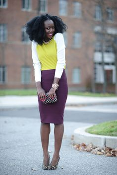 Such a beautiful color combination of lime and plum worn by Nifesimi of Skinny Hipster