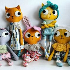 Handmade cloth kitty cat dolls by Pinkyminky