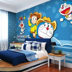 Doraemon is one of the most popular Japanese cartoon characters, robot cat from the future is very adorable. What makes people fall in love with Doraemon Cartoon Wallpaper, Wall Wallpaper, Bedroom Wallpaper, Bedroom Themes, Bedroom Decor, Bedroom Ideas, Doraemon Wallpapers, Childrens Rugs, Kids Bedroom Designs