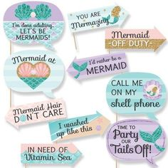 Big Dot of Happiness Funny Let's Be Mermaids - Baby Shower or Birthday Party Photo Booth Props Kit - 10 Piece Baby Shower Photo Booth, Fotos Baby Shower, Baby Shower Niño, Mermaid Baby Showers, Baby Shower Photos, Baby Mermaid, Bridal Shower, Shower Party, Mermaid Cove
