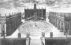 Design for the Capitoline Hill (1548) Engraving. In the centre Michelangelo placed the Roman statue of the Emperor Marcus Aurelius. Flanking the staircase are the statues of Castor and Pollux, which were found in the Theatre of Marcellus. Engraving by Étienne Dupérac,1568.
