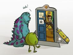 Doctor Who and Monsters Inc. Mash-up. I LURVE this to the tenth doctor degree. Harry Potter and Doctor Who Mash-up Dr Who, Doctor Who, Eleventh Doctor, Steven Moffat, Monsters Inc, Funny Monsters, Geeks, Sherlock, Serie Doctor