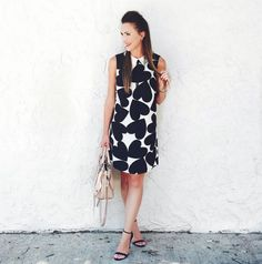 Heart print shift dress by Cece