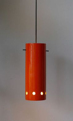 Roger Capron; Glazed Ceramic and Enameled Metal 'Lampion' Ceiling Light, 1956.