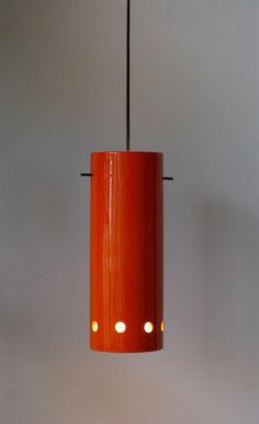 Roger Capron; Glazed Ceramic and Enameled Metal 'Lampion' Ceiling Light, 1956.