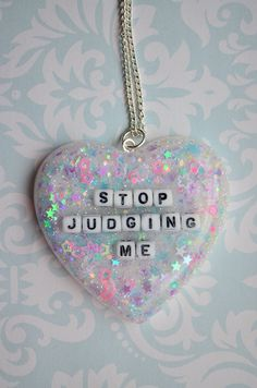 "Kawaii ""Stop Judging Me"" Heart Necklace"