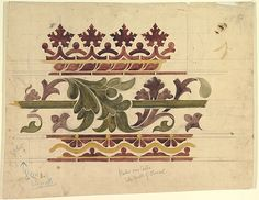 Ernest Geldart, Border over Dado Sidewalls of Chancel, The Metropolitan Museum of Art Textile Prints, Textile Art, British Museum Egypt, Zentangle, Altar, Boarder Designs, Art Nouveau Flowers, 17th Century Art, Floral Artwork