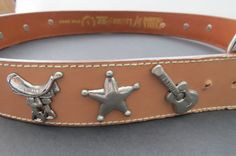 Western Saddles Guitars Theme BELT - Size L - Prima Collezione by Leather Shop  #PrimaCollezionebyLeatherShop