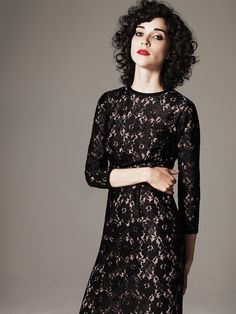 annie clark from St. Vincent...beautiful dress and the best curly hair