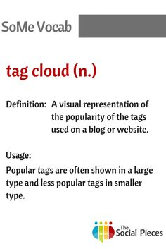 Get your head around all that #socialmedia #vocabulary with our SoMe Vocab posts. Today's vocabulary is: Tag cloud.