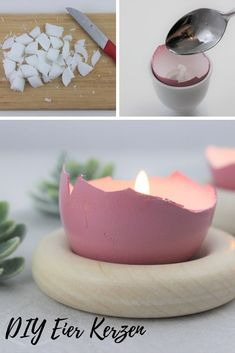 Make the candle out of the eggshell yourself - Ostern - Geschenke und Dekoration Ostergeschenk Diy, Beeswax Candles, Fruit And Veg, Morning Food, Egg Shells, Candle Making, Panna Cotta, Easter, Ethnic Recipes