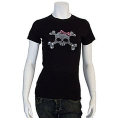 @Overstock - Crazy Haute has created funky rhinestone skull shirts that are trendy, fun and exciting. This short-sleeved black crew neck shirt provides comfort, while the rhinestone skull with designer pink bow offers a unique and up-to-date look.http://www.overstock.com/Clothing-Shoes/Crazy-Haute-Womens-Rhinestone-Skull-T-shirt/3915413/product.html?CID=214117 $27.49