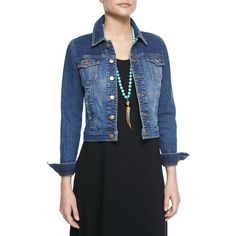 Eileen Fisher Denim Cropped Jacket ($160) ❤ liked on Polyvore featuring outerwear, jackets, aged indigo, eileen fisher, cropped jacket, blue cropped jacket, cropped jean jacket and long sleeve jacket