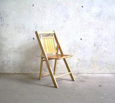 Vintage Wood Folding Chair Slat Panel Back by TheArtifactoryStudio, $45.00