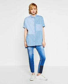 Image 1 of PATCHWORK DENIM SHIRT from Zara