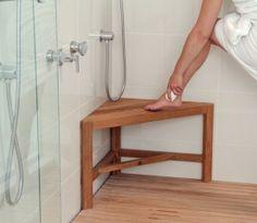 teak shower bench corner