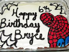 Spiderman Birthday cake I did for Bryce.