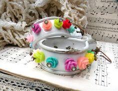 funky flower hoop earrings assemblage spring by lilyofthevally