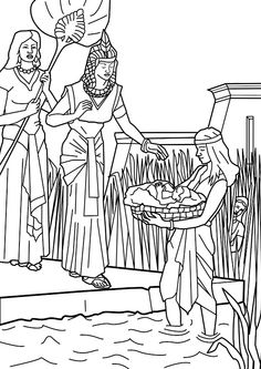 Baby Moses found by Pharaoh's daughter in the reeds. Mariam looks on. Bible coloring page