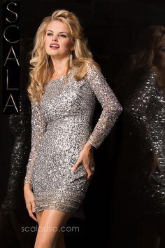 #SCALA Fall 15 style 48356 Silver. #Fall2K15 #Homecoming2K15 #Dress #CocktailDress www.scalausa.com