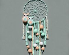 This Nursery dream catcher wall hanging Mint and peach decor for kids room Baby shower gift Boho decoration for baby room with pompoms and owls is just one of the custom, handmade pieces youll find in our wall hangings shops. Peach Decor, Mint Decor, Dream Catcher For Kids, Baby Room Neutral, Baby Christmas Gifts, Baby Girl Gifts, Crochet Home, Bohemian Decor, Baby Owls