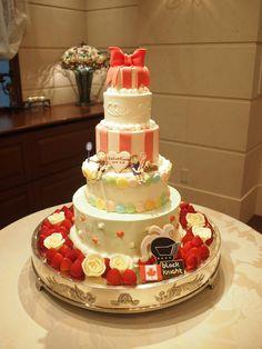 5段のケーキは、バランスを保つのが作っていて重要。 生地やクリームを工夫して作ります。