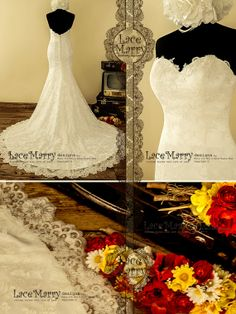 Exquisite Strapless Sweetheart Neckline Trumpet Style Delicate Floral Lace Wedding Dress Features Slight V-Cut Back and Chapel Train on Etsy, $309.00