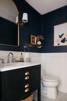 Wainscoting Bathroom, Upstairs Bathrooms, Downstairs Bathroom, Bathroom Renos, Wall Paper Bathroom, Black Wainscoting, Bathroom Ideas, White Bathroom With Wallpaper, Black Wallpaper Bedroom