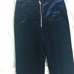 Pants Velvety blue leggings with gold zipper in front Pants Leggings