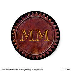 Custom Steampunk Monogram Classic Round Sticker