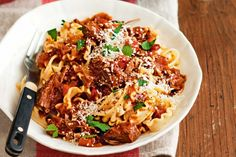 The beauty of slow cooked meals means that after a little prep, the ragu can be left to bubble away until dinner time.
