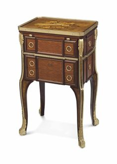 A FRENCH ORMOLU-MOUNTED MAHOGANY, TULIPWOOD, AMARANTH, BURR WALNUT, SYCAMORE AND FRUITWOOD MARQUETRY AND PARQUETRY SERRE-BIJOUX -  BY HENRY DASSON, PARIS, DATED 1880, AFTER THE MODEL BY JEAN-HENRI RIESENER