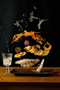 Displaying the raw ingredients of her recipes suspended in mid-air, German artist Nora Luther collaborated with Pavel Becker to intrigue cooks with the possibilities of a recipe before it is cooked.