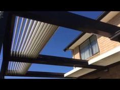 See Johnson & Couzins' Concertina Louvres in action. Watch the double louvre roof slide away! Outdoor Rooms, Canopy, Blinds, Home Goods, Home Improvement, Louvre, Deck, Windows, Curtains