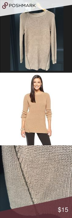 Mossimo Bottom Hem Zipper Pullover Sweater Gold/Tan pullover tunic sweater with two zippers at the hem. Excellent condition! Worn only twice. Yarn has a slight shimmer to it. Mossimo Supply Co Sweaters Crew & Scoop Necks