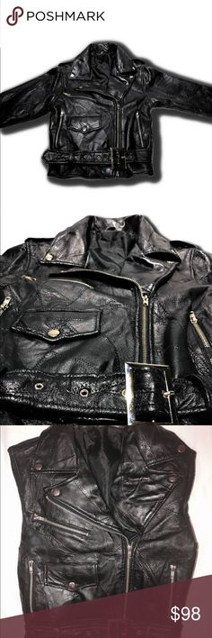 Vintage 1980's CHIA black leather moto jacke Vintage 1980's CHIA femme black leather moto jacketRARE Vintage 1980's CHIA femme black leather moto jacket punk mod cropped belted tiny fit greaser biker motorcycle coat xs Vintage Jackets & Coats