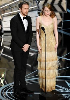 Ryan Gosling and Emma Stone onstage during the 89th Annual Academy Awards at Hollywood & Highland Center on February 26, 2017 in Hollywood, California.