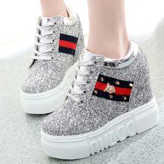 Shoespie Trendy High Upper Hidden Elevator Heel Sneakers