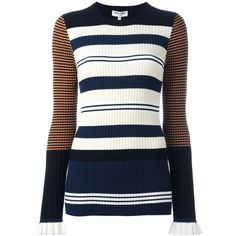 Opening Ceremony contrast stripe ribbed jumper ($500) ❤ liked on Polyvore featuring tops, sweaters, multicolor and opening ceremony